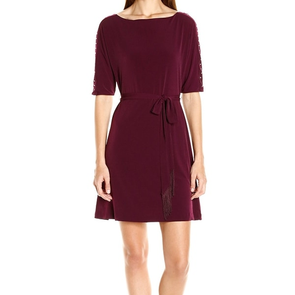 37196dd4 Shop Jessica Simpson NEW Red Wine Women's Size 12 Sheath Jersey Sash Dress  - Free Shipping On Orders Over $45 - Overstock - 17796671
