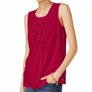 Tommy Hilfiger NEW Red Chili Pepper Women's Size XL Ruffle Tank Blouse