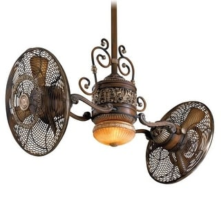 "MinkaAire Traditional Gyro 42"" Sweep 6 Blade Traditional Gyro Indoor Twin Turbo Fans with Blades and Integrated Light Included"