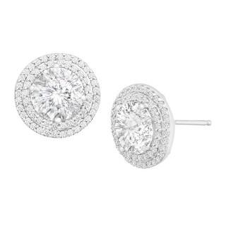 Stud Earrings with Swarovski Zirconia in Sterling Silver - White