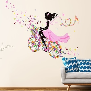Link to Butterfly  On Bicycle Removable Vinyl DIY PVC Wall Sticker Similar Items in Vinyl Wall Art