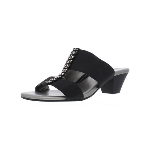 Karen Scott Womens Zaila Slide Sandals Glitter Block