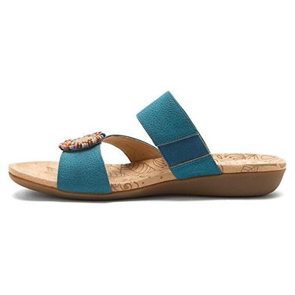 Acorn Womens Samoset Slide Sandals Leather Beaded