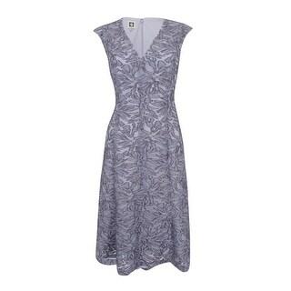 Anne Klein Women's Burnout V-Neck A-Line Dress (Greystone, 8) - Greystone - 8