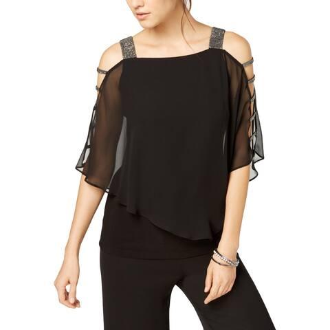 MSK Womens Petites Top Embellished Cold Shoulder - Black