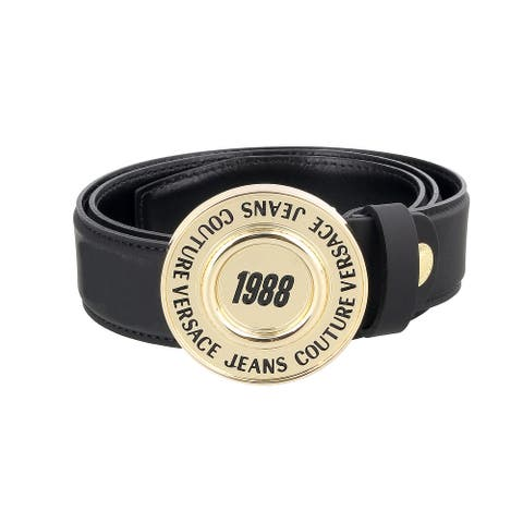 Versace Jeans Couture Black/Gold Adjustable Round Buckle Logo Leather Belt