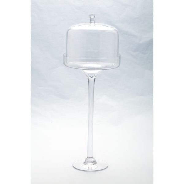 """20"""" Clear Dome Hand Blown Glass Cake Stand with Lid. Opens flyout."""