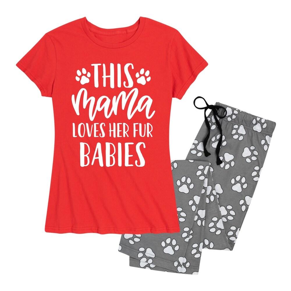 Mama Loves Her Fur Babies - Womens Pajama Set - Red Paw Print