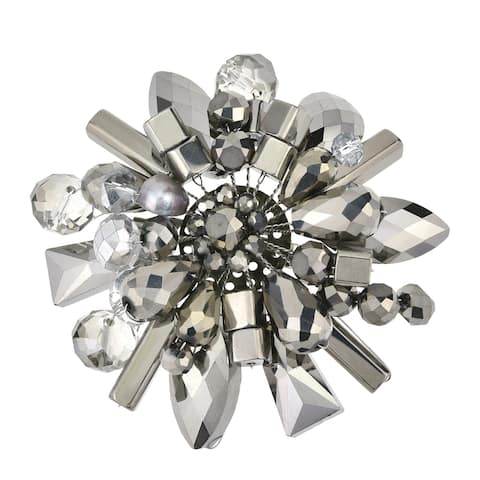 Handmade Modern Gray Floral Cluster of Sparkling Crystal Pearl Metallic Beads Brooch Pin (Thailand)