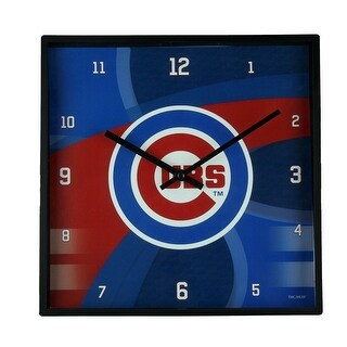 Chicago Cubs Carbon Fiber Print 11 Inch Square Wall / Table Clock - Blue