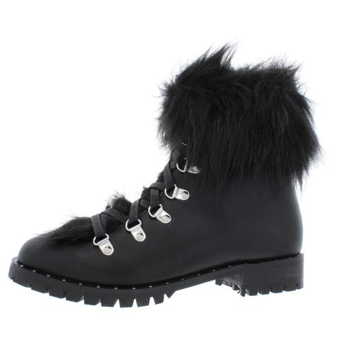 Steve Madden Womens Falco Booties Faux Fur Combat