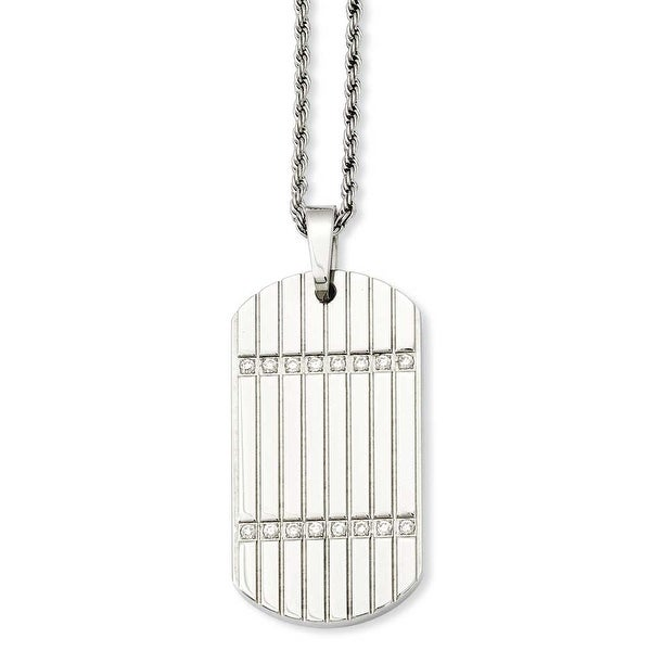 Stainless Steel CZ Dogtag Pendant 24in Necklace (2 mm) - 24 in