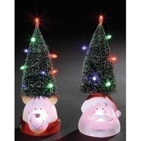 "9.5"" LED Lighted Green Tree with Smiling Bear Head Figure - multi"