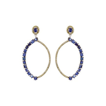 Blue Sapphire and Genuine Diamond Earring, Pave Diamond Blue Sapphire Earring
