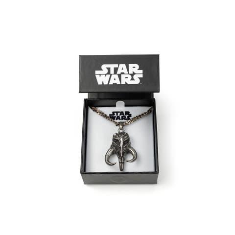 Star Wars Mandalorian Mythosaur Skull Pendant Necklace 22-Inch Long Chain - Silver
