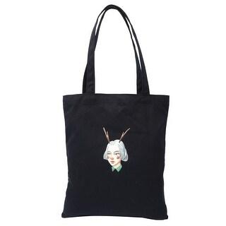 Canvas Girl Pattern Reusable Shoulder Strap Tote Shopping Bag Handbag Black