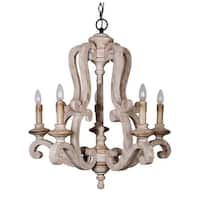 Farmhouse Distressed Antique White 5-Light Wood Chandeliers