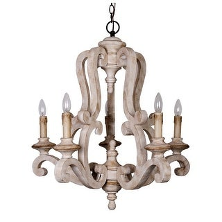 Rustic 5 light distressed antique white wood chandelier free rustic 5 light distressed antique white wood chandelier free shipping today overstock 26706550 aloadofball