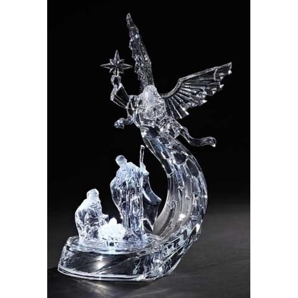 """12"""" Icy Crystal LED Lighted Angel with Holy Family Christmas Table Top Figure"""