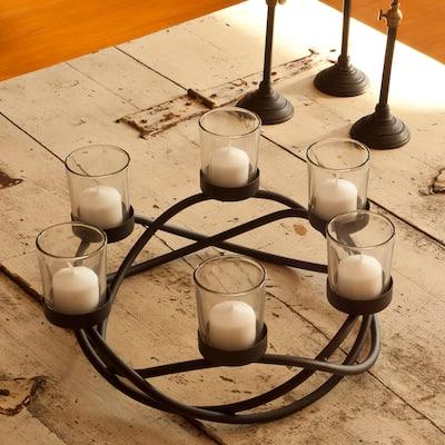 Round Waves Black Wrought Iron Candleholder/ Centerpiece