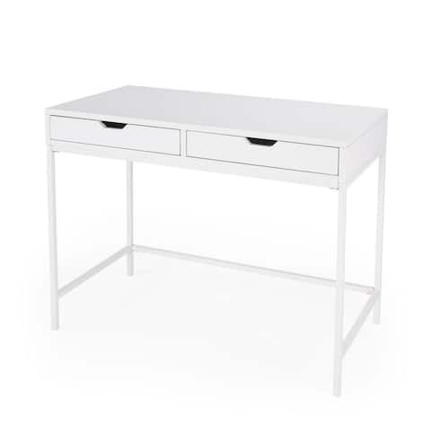 Offex Belka Transitional White Rectangular Desk with Drawers