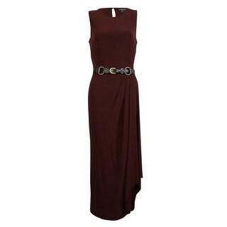 Ralph Lauren Women's Sleeveless Gathered Belted Jersey Dress