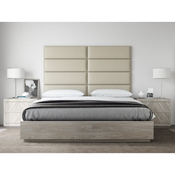VANT Upholstered Headboards - Accent Wall Panels - Vintage Leather Dusty Taupe - 39 Inch Twin-King - Set of 4 panels.