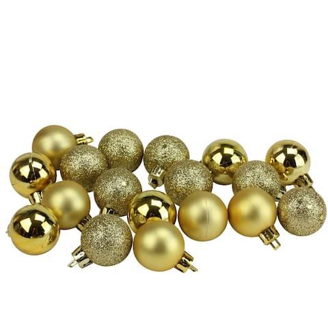 "18ct Vegas Gold Shatterproof 4-Finish Christmas Ball Ornaments 1.25"" (30mm)"