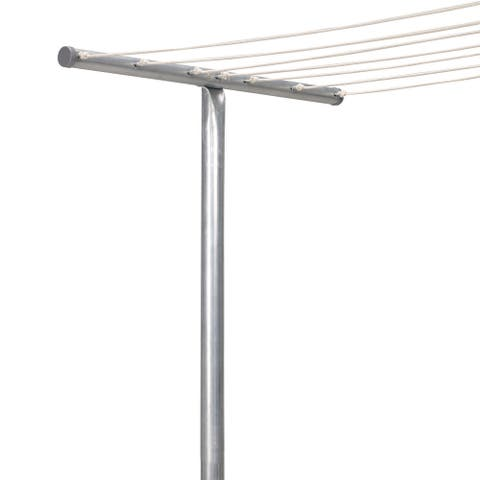 Rust-Resistant Steel Clothesline T-Post with One Piece Construction