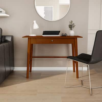 Linon Meade Warm Brown Mid-Century Modern Desk