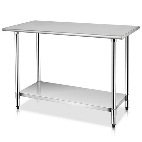 Costway 24'' x 48'' Stainless Steel Work Prep Table Commercial Kitchen Restaurant - sliver