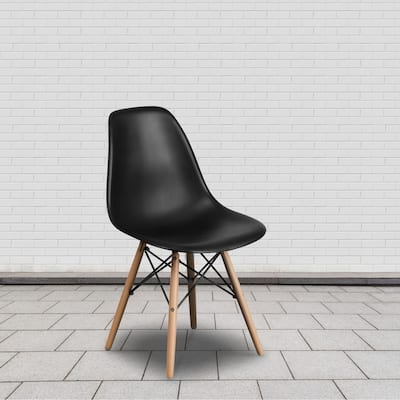 Plastic Chair with Wooden Legs