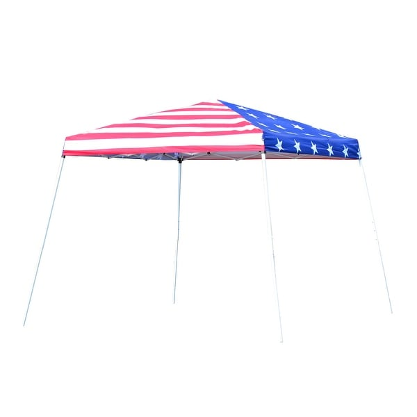 Outsunny 10'x 10' Outdoor Canopy Pop Up Event Tent with Slanted Legs for Events, Weddings, & Parties, American Flag. Opens flyout.