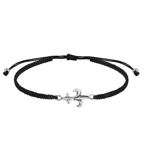 Handmade Classic Fleur-de-lis Sterling Silver Charm Black Rope Adjustable Bracelet (Thailand)