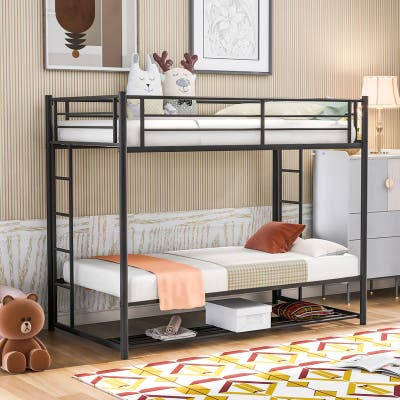 Metal Frame Twin over Twin Bunk Bed with Storage,2 Ladders