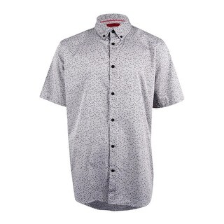 Alfani Men's Slim Fit Pattern Shirt (XXL, Smooth Silver) - smooth silver - XXL