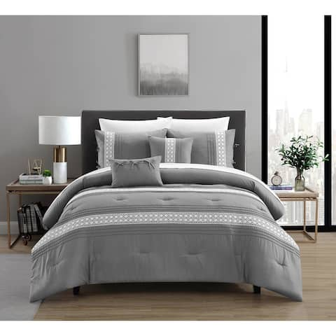 Chic Home Brye 9 Piece Comforter Set Pleated Embroidered Design Bed In A Bag - Sheet Set Decorative Pillows Shams Included