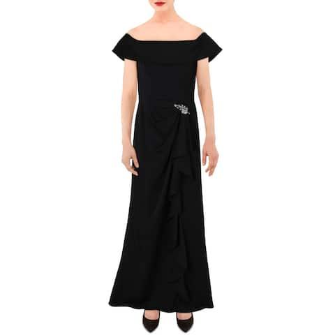 Cachet Womens Formal Dress Cascade Ruffle Off-The-Shoulder - Black