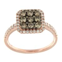 Prism Jewel 0.99Ct G-H/SI1 Brown Color Diamond & Natural Diamond Cluster Ring - White G-H
