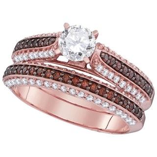 3/4Ctw Diamond 1/2Ctw Center Round Bridal Engagement Ring 10K Rose-Gold