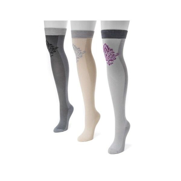 Muk Luks Socks Womens Damask Over Knee 3 Pack O/S Multi-Color - One size