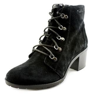 Anne Klein Karsen Women Round Toe Suede Black Ankle Boot