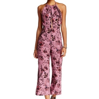 Free People NEW Red Women's Size 2 Floral Print Twist Halter Jumpsuit