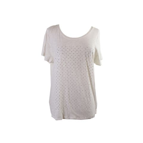 Tommy Hilfiger Ivory Short-Sleeve Studded Front T-Shirt XL