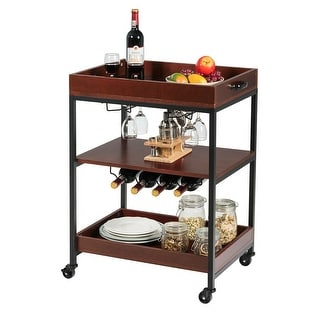 Link to Gymax 3 Tier Trolley Cart Kitchen Island Serving Bar Cart w/ Glass Similar Items in Kitchen Furniture