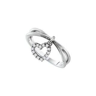 1/10Ctw Round Diamond Ladies Heart Fashion Ring White-Gold 14K