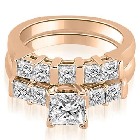 1.50 cttw. 14K Rose Gold Princess Cut Diamond Engagement Matching Bridal Set HI, SI1-2