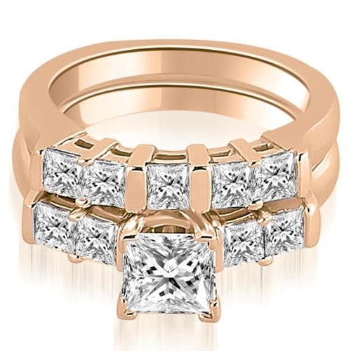 2.00 cttw. 14K Rose Gold Princess Cut Diamond Engagement Bridal Set