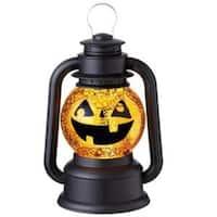"9.5"" Black and Orange Speckled Jack-O-Lantern Lighted Glitterdome Lantern Table Top Decoration"