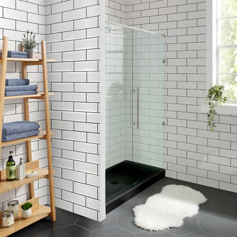 "Voltaire 48"" x 32"" Acrylic Black, Single-Threshold, Center Drain, Shower Base"